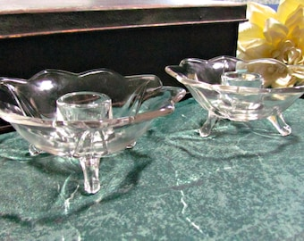 Clear Glass Vintage Candle Holder Pair 3 Footed 9 Point Flower Shape