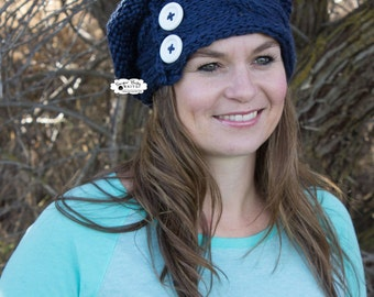Navy Blue Knit Slouchy Cabled Beanie -Oversized Beanie, Slouchy Hat, Hand Knit, Navy, Chunky Beanie, Cabled, Knit, Slouchy, Beanie
