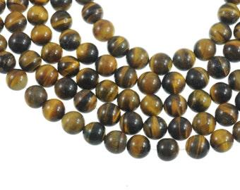 "Tiger Eye 12mm Round Gemstone Beads - Full 16"" Strand - About 35 Beads - Natural Brown Gem"