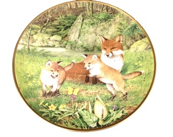 Franklin Collector Plate, Peter Barrett Red Fox Butterfly Chase in May, Woodland Year Calendar Collection, Limited Edition