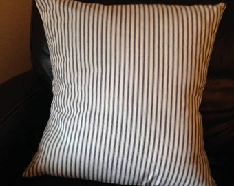 Ticking Navy and white stripe pillow cover, Home decorating, gifts