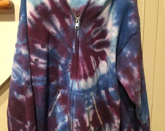 SALE..Tye dye YOUTH LARGE fleece hoodie, tie dye hoodie, zip up purple, sky blue and baby blue hoodie