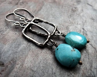 Long Turquoise Dangles // rustic tibetian turquoise on textured sterling silver rectangles // artisan metalsmith earrings (3463)
