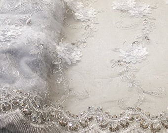 Elegant White Embroidered Lace With Flower Sequins With Scalloped Edge Embroidered Lace Fabric- 1 Yard Style 2868