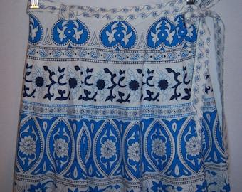 Vintage Mamouzakis Blue Paisley Floral Flower Border Print Cotton Greek Sarong Wrap Gypsy Peasant Skirt One Size Small Medium Large