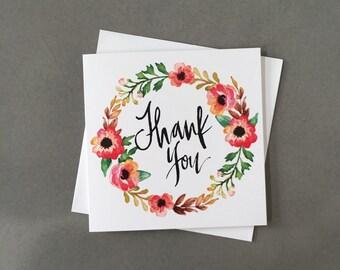 Thank you card, wedding thank you, floral thank you, wreath thank you card