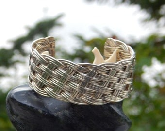 Vintage 925 silver BRAIDED bangle bracelet, MEXICAN hallmark, cuff
