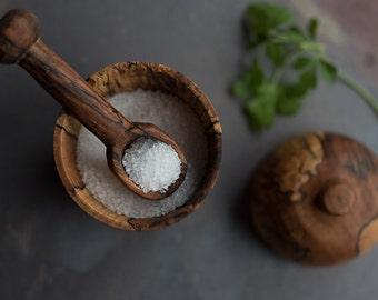Custom Salt Cellar with Lid and Spoon, Gift for her, Salt Keeper, Salt Pig, Wooden Salt Pig,