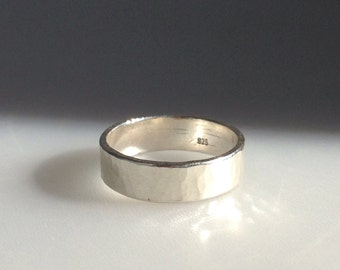 Artisan Sterling Silver Hammered Wide Ring