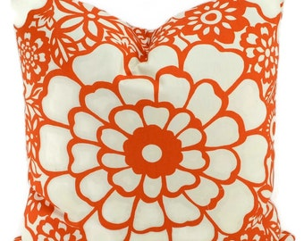 CLEARANCE!! Throw Pillow Cover, Orange & Off White Floral Pillow Cover, Contemporary Orange Floral, 20x20,  Fiesta Floral