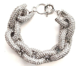 Silver Pave Link Bracelet Crystal Chunky Arm Candy Bangle J.Crew Inspired Bold