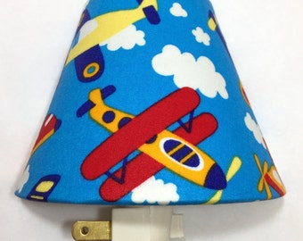 Airplanes Plug In Night Light / Nursery Decor / Baby Shower Gift / Home Decor / Lighting / Kid's Room / Bedroom / Planes / Clouds / Boy