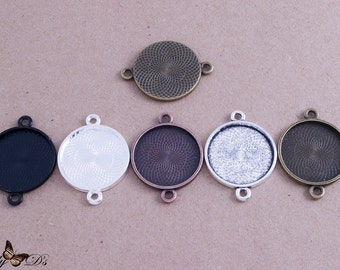 5- 25mm (1inch) Round Connector Trays - 5 Color Choices - Mix-n-Match - Blank Bezel Settings - Photo Jewelry - Findings - Lilly D's