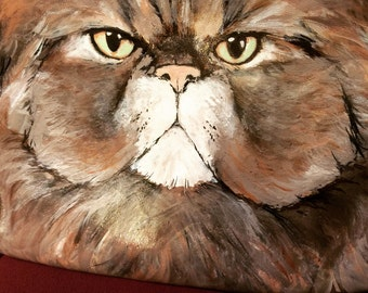 Persian cat, purse, vintage, 1980s, leather. Stars on  Mars hand painted exclusive. All are one of a kind