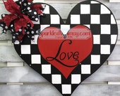 Black and White LOVE Valentine Door Hanger Sign
