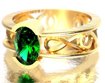 Celtic Wedding Ring with Emerald Stone and Inifinty Knot Design in 10K 14K 18K Gold, Palladium or Platinum Made in Your Size CR-13d