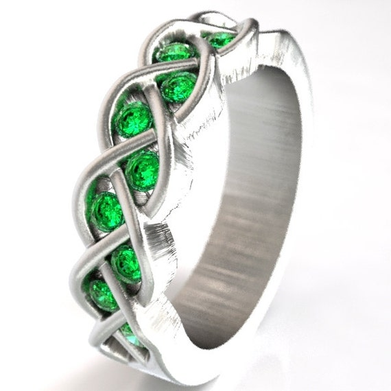 Celtic Wedding Band, Sterling Silver Celtic Ring, Emerald Wedding Ring, Celtic Jewelry, Unique Wedding Ring,  Made in Your Size CR-1005