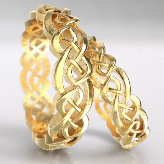 Gold Celtic Wedding Ring Set With Cut-Through Overlapping Infinity Symbol Pattern in 10K 14K 18K or Palladium, Made in Your Size Cr-1044