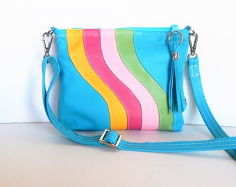 Leather crossbody purse in bright summer colors.  Shoulder bag.   Ready for sunshine!