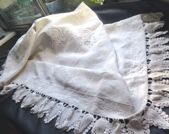 Antique French Beautiful embroidered white sheet-Vintage of France Fashion -Handmade. XIXth century