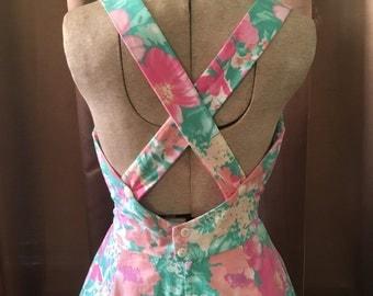 Vintage 1980s Pastel Pink Green Lanz GARDEN PARTY Watercolor Floral Full Skirt Criss Cross Open Back Tea Party Pocket Sun Dress S