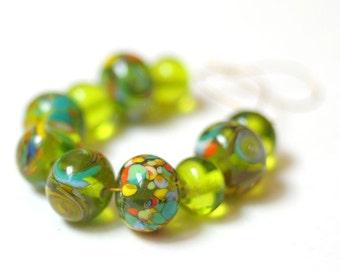 10 Beads Set -  Handmade Lampwork Beads Green Multicolored Beads