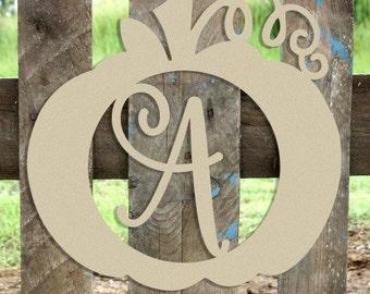 Ballerina Script Pumpkin Monogram with Vine, Door Hanger, Fall Decor, DIY, Pumpkin