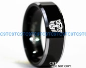 Tungsten Carbide Wedding Band, Tungsten Ring, Custom Engraved Ring, Transformers Design