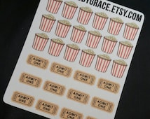 30 Movie Night Cinema Popcorn Planner Stickers - Perfect for your Erin Condren Life Planner!