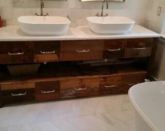 Barnwood vanity with dual vessel sinks