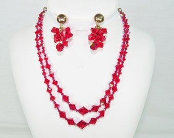 Vintage Ruby Red Bi-cone Swarovski Crystal Necklace and Earrings