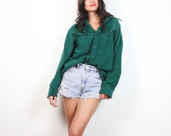 Vintage 70s Western Shirt Green Braid Plaited Trim Boyfriend Shirt 1970s Long Sleeve Textured Ribbed Cowboy Shirt Braided Cowgirl Top L XL