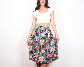 Vintage 80s Skirt Bright Rainbow Floral Pink Green Purple Knee Length Skirt 1980s High Waisted Skirt Tea Length Preppy New Wave S Small M