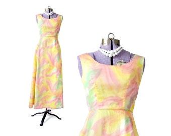 Rainbow Dress, Yellow Formal Dress, Pink Formal Dress, 1960s Dress, 60s Dress, Psychedelic Dress, Formal Dress, Vintage Formal Dress Small