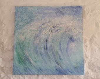 Stormy sea surf abstract painting 90cm x 90cm