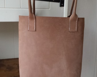 Soft Pale Brown Tan Brushed Leather tote