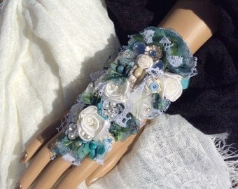 Fingertip to Wrist Corsage-Prom Corsage-Prom-Wedding Corsage-Bridal Corsage-Spa-Aqua Fabric Corsage-Jewelry Corsage-Crystal Bracelet-Prom