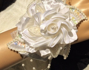 Opalescence Corsage-Wedding Corsage-Wedding Bridal Corsage-Bride's Corsage-Bride's Flowers-Wrist Corsage-White Fabric Corsage-Prom Flowers