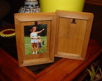 Bordered Clip Board Frame desk shelf display 4x6 size deep profile solid cedar pictures photos oak finish