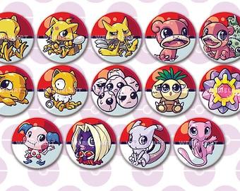 First Generation Psychic pokémon 38mm buttons