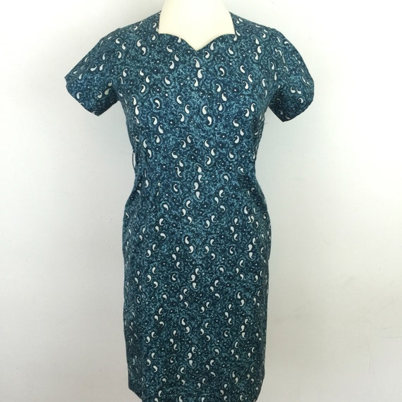 1960s Mod dress blue shift dress paisley print UK 10 vintage wedding scooter girl silky acetate turquoise late 1950s