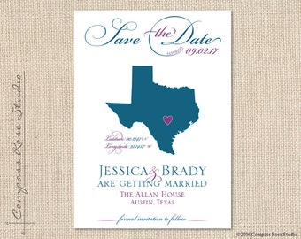 Custom Wedding Map, State Map Save The Date, Texas Map Save The Date, Destination Wedding Save The Date, Elopement Reception, Any State