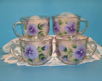 PANSY MUG, PURPLE, set of four