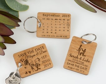 50 x Engraved Wooden Save the Date Keyring