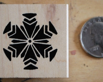 abstract snowflake rubber stamp