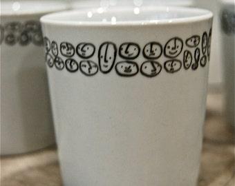 "6 espresso cups ""thousand faces"""