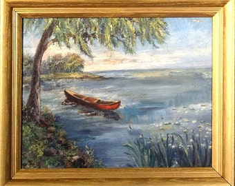Rare ca.1940 Boat near the Shore Impressionist Painting Oil/Canvas w/Frame