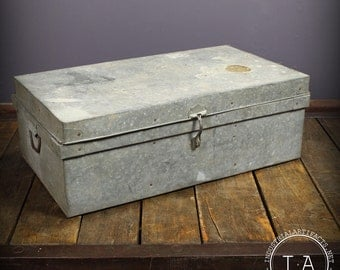 Vintage Industrial Large Metal Storage Trunk