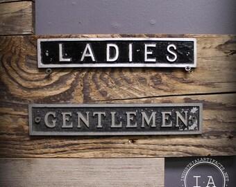 Set of Three Vintage Metal Restroom Signs Ladies Gentlemen Push