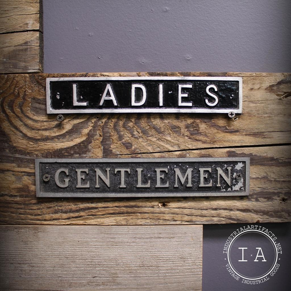 Set of Three Vintage Metal Restroom Signs Ladies Gentlemen